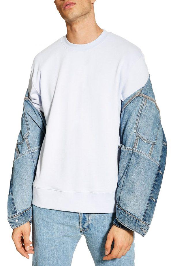 Men's Topman Short Sleeve Crewneck Sweatshirt, Size Medium - Blue