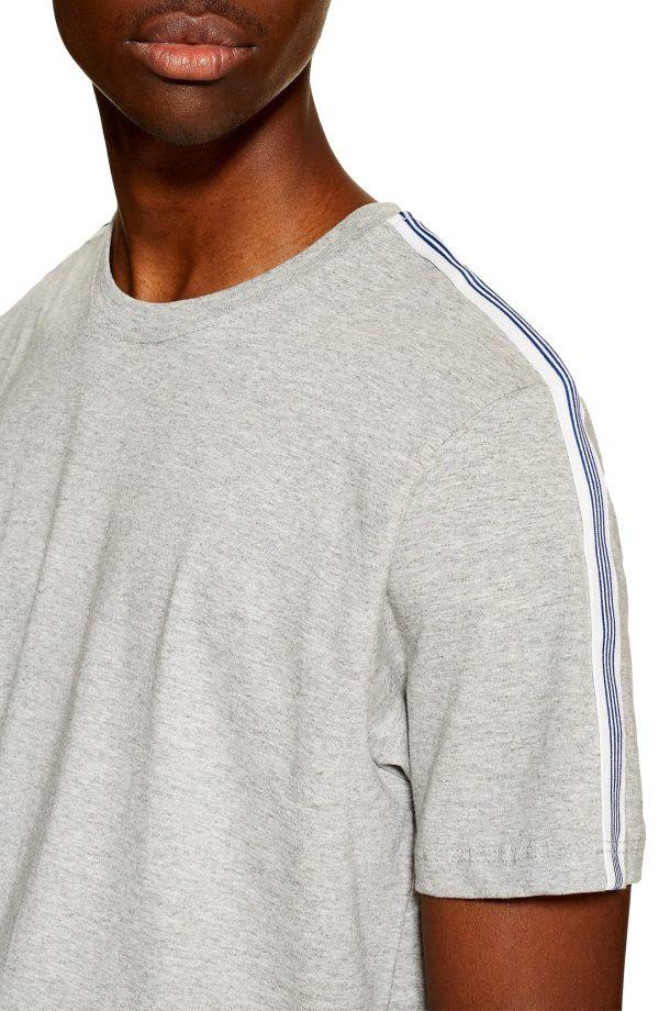 Men's Topman Tape Heathered Crewneck T-Shirt, Size Large - Grey