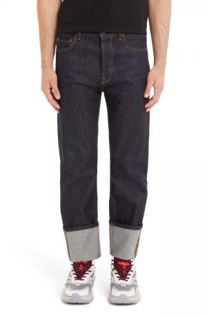 Men's Valentino Cuff Jeans, Size 30 - Blue