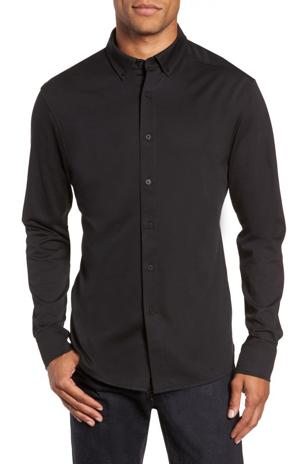 Men's Vince Camuto Slim Fit Button Down Collar Sport Shirt, Size Small - Black