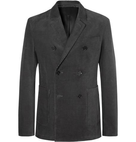 Mr P. - Dark-Grey Slim-Fit Double-Breasted Cotton-Corduroy Blazer - Dark gray