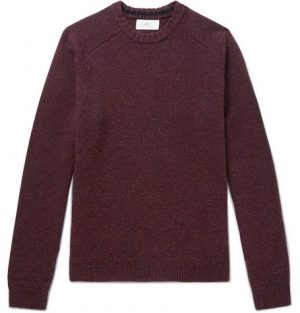 Mr P. - Mélange Shetland Wool Sweater - Men - Merlot