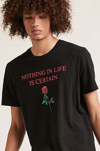Nothing Is Certain Graphic Tee by 21 MEN Black/red