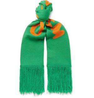 Off-White - Fringed Logo-Intarsia Wool Scarf - Green