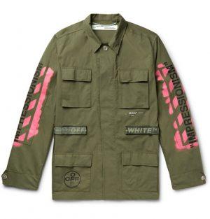 Off-White - Logo-Print Cotton-Blend Field Jacket - Green