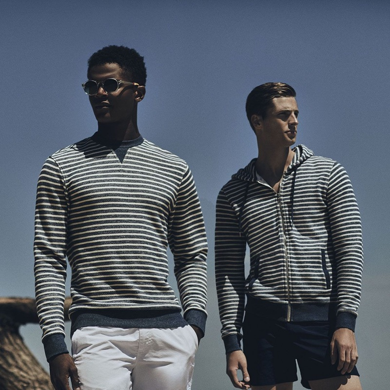 Sporting striped fashions, O'Shea Robertson and Edward Wilding wear Orlebar Brown.