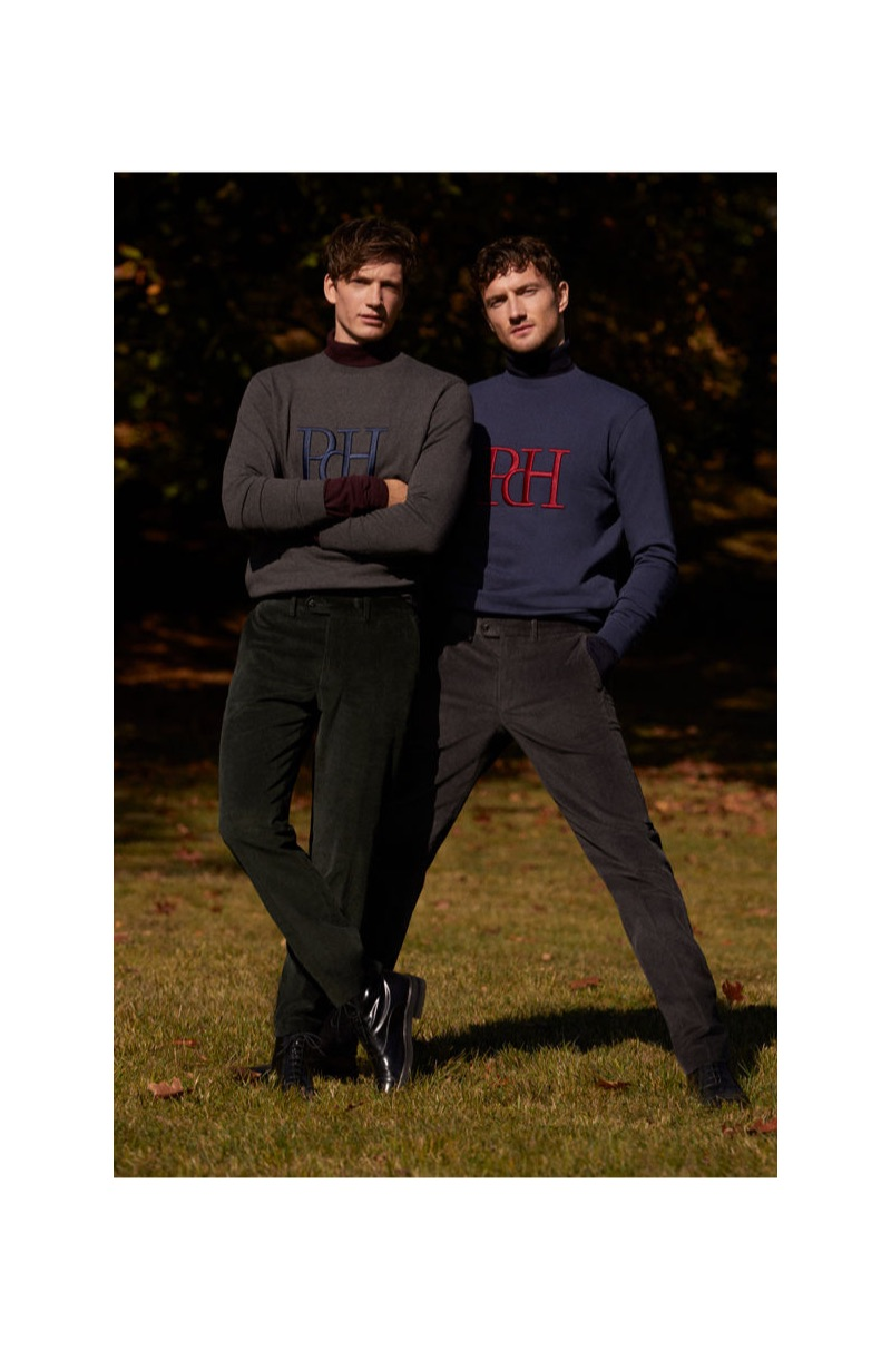 Venturing outdoors, Florian Van Bael and Jacob Coupe don pullovers from Pedro del Hierro.