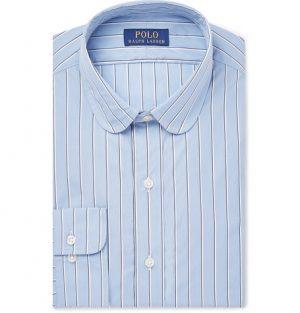 Polo Ralph Lauren - Slim-Fit Penny-Collar Striped Cotton-Poplin Shirt - Men - Navy