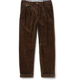 Polo Ralph Lauren - Wide-Leg Pleated Stretch-Cotton Corduroy Trousers - Men - Brown