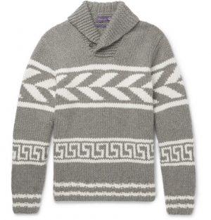 Ralph Lauren Purple Label - Shawl-Collar Intarsia Cashmere Sweater - Men - Gray