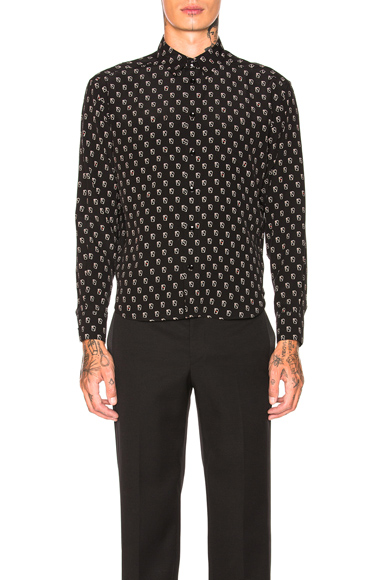 Saint Laurent Cards Shirt in Abstract,Black. - size 41 (also in 37,38,39,42)