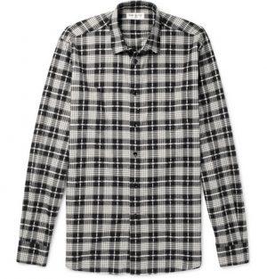 Saint Laurent - Checked Cotton and Virgin Wool-Blend Shirt - Men - Black