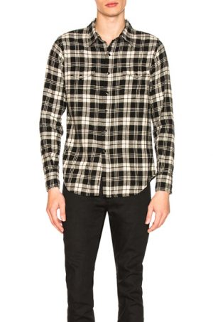 Saint Laurent Classic Western Shirt in Black,Plaid,White. - size L (also in M)
