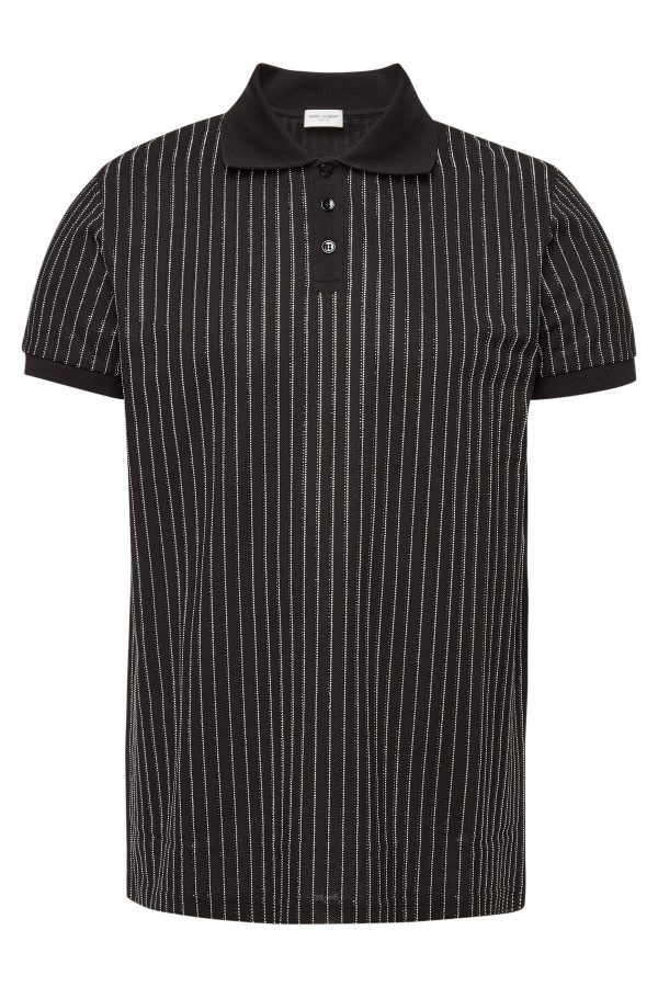 Saint Laurent Cotton Polo Shirt with Crystals