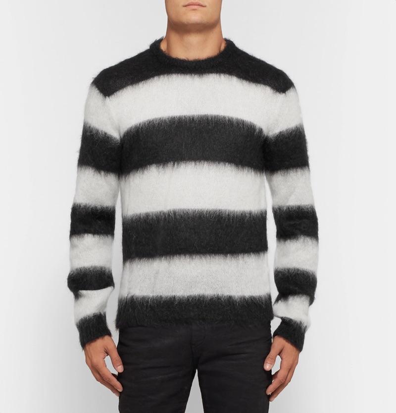 Saint Laurent Distressed Striped Mohair-Blend Sweater