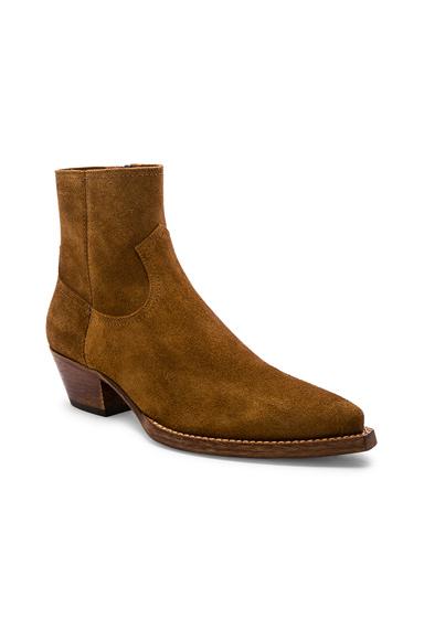 Saint Laurent Lukas 40 Zip Boot in Brown. - size 42 (also in 41,43)