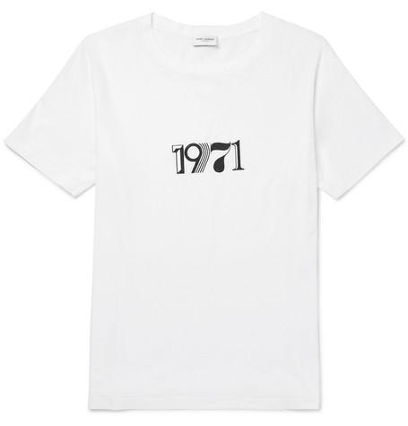 Saint Laurent - Printed Cotton-Jersey T-Shirt - Men - White