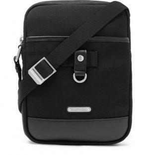 Saint Laurent - Rivington Race Leather-Trimmed Canvas Messenger Bag - Men - Black