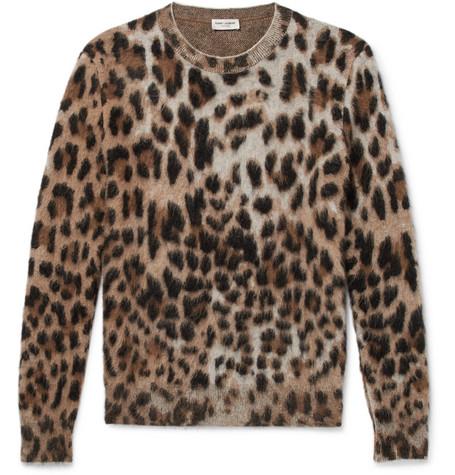 Saint Laurent - Slim-Fit Leopard-Print Mohair-Blend Sweater - Men - Camel