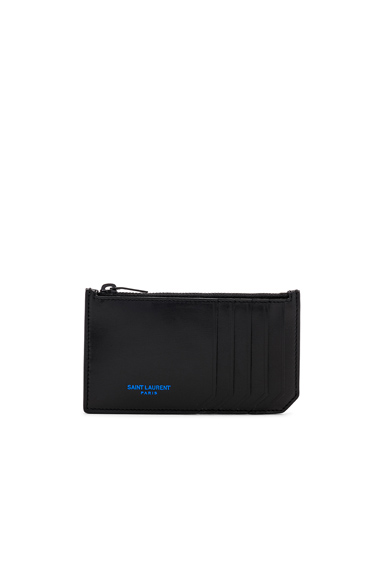 Saint Laurent Zipped Fragments Credit Card Case in Black.