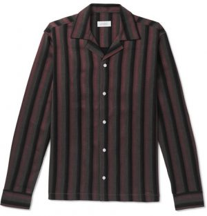 Saturdays NYC - Marco Frequency Camp-Collar Striped Woven Shirt - Men - Plum