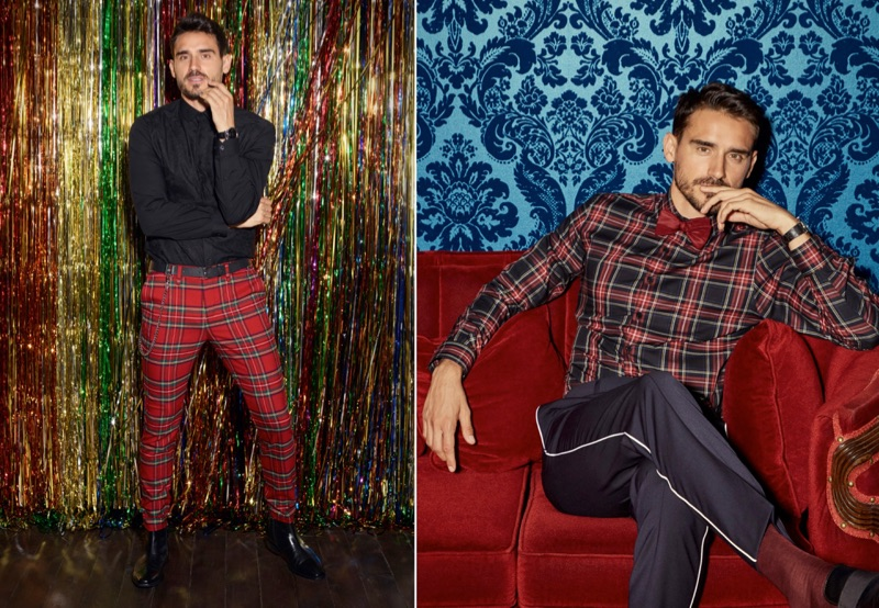 Connecting with Simons, Arthur Kulkov showcases holiday tartan style.