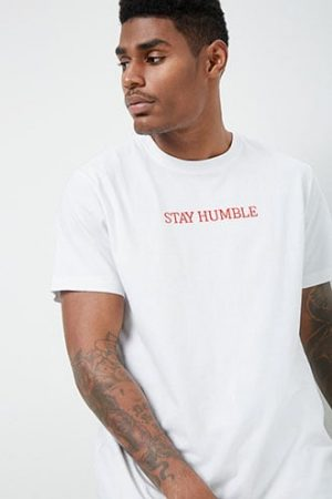 Stay Humble Graphic Tee by 21 MEN White/red