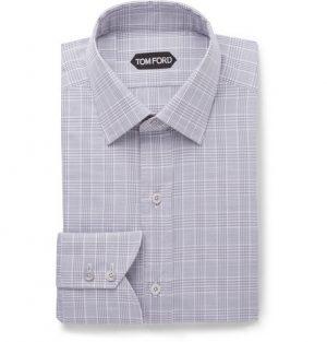TOM FORD - Grey Slim-Fit Prince of Wales Checked Cotton-Poplin Shirt - Men - Gray