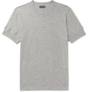 TOM FORD - Mélange Cotton-Jersey Henley T-Shirt - Men - Gray