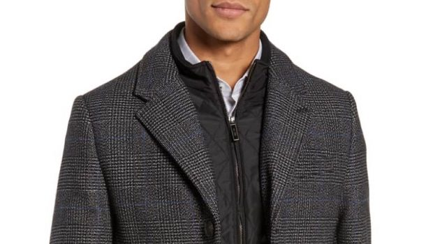 Ted Baker London Plaid Stretch Wool Cotton Overcoat