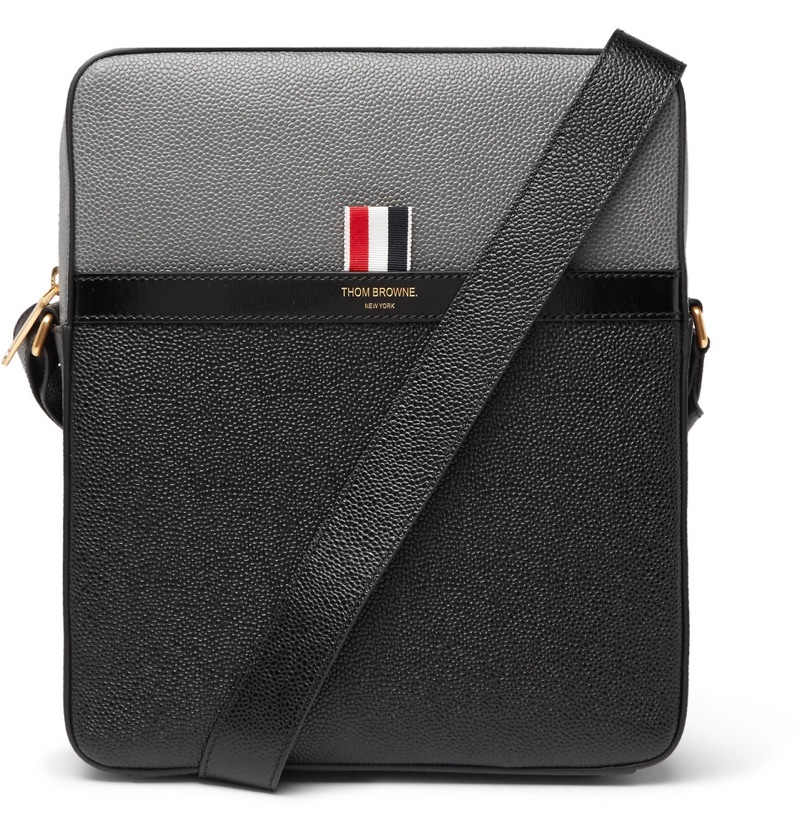 Thom Browne Colour-Block Pebble-Grain Leather Messenger Bag
