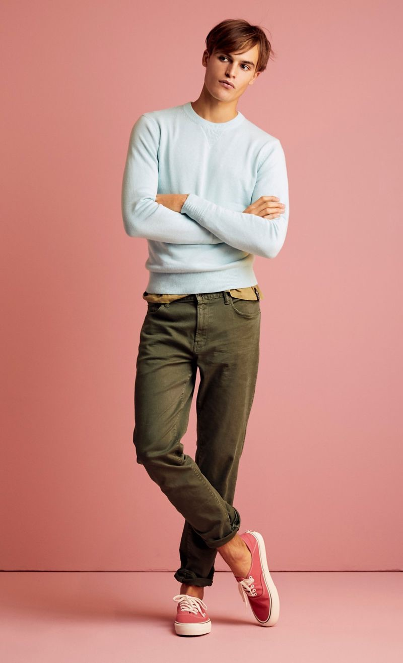 Parker van Noord sports a Todd Snyder aqua cashmere sweater with 5-pocket garment-dyed pants.