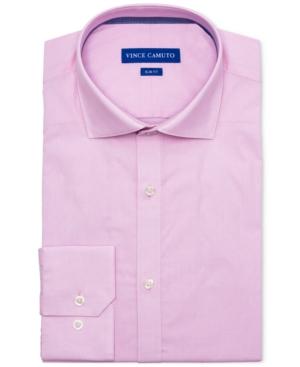 Vince Camuto Men's Slim-Fit Comfort Stretch Coral Diamond Line Dobby Dress Shirt