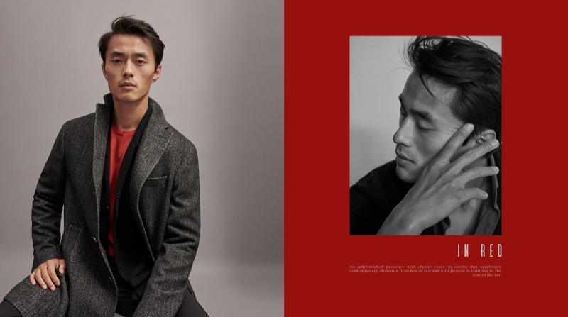 A sharp vision, Zhao Lei dons a herringbone coat with a blazer and red top for Massimo Dutti.