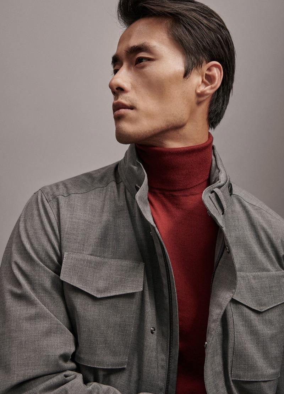 Model Zhao Lei sports new year fashions for Massimo Dutti.