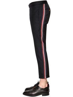 17cm Skinny Side Band Wool Twill Pants