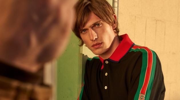 Connecting with APROPOS for spring, Edoardo Sebastianelli rocks Gucci.