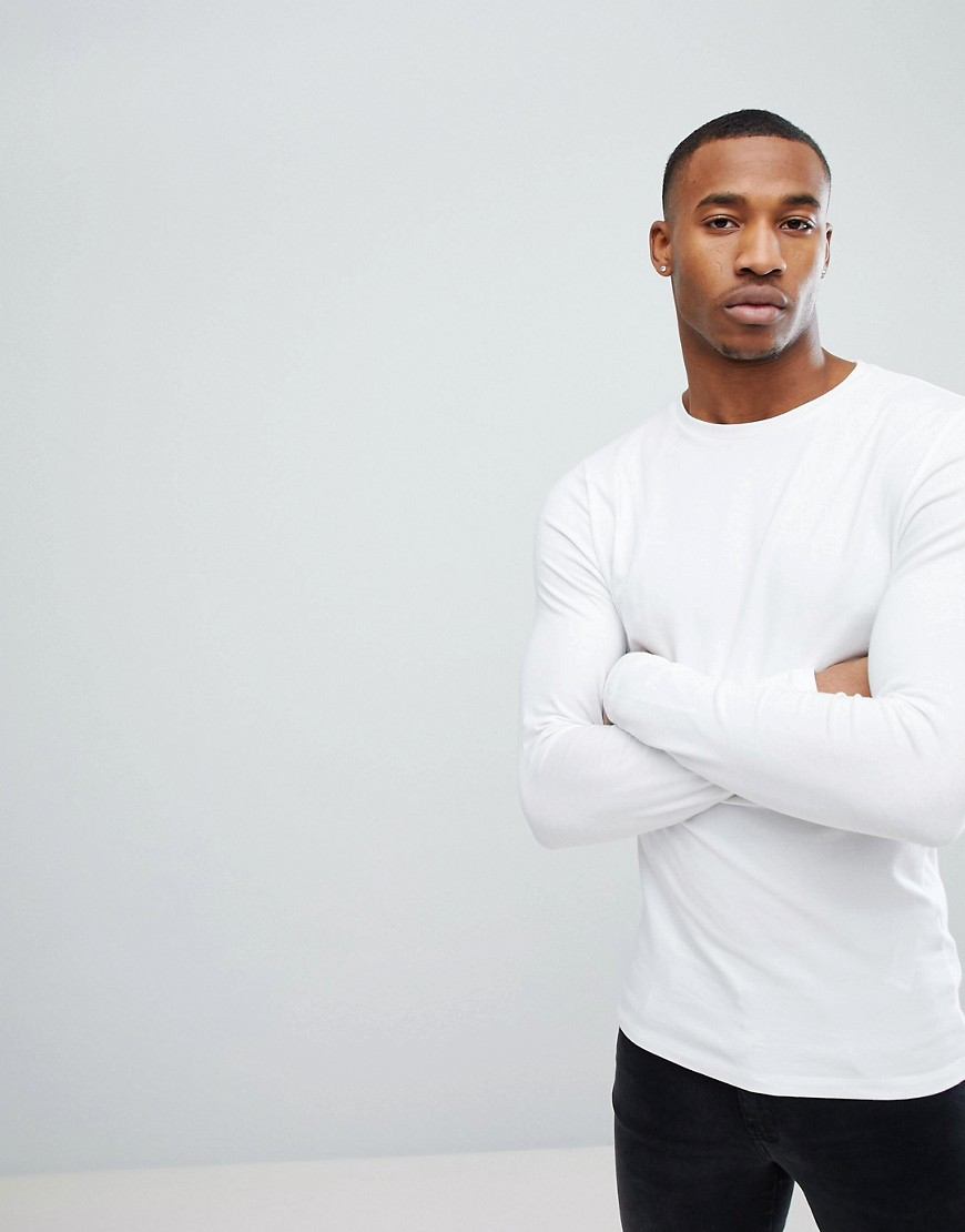 86d9ecf99 ASOS DESIGN muscle fit long sleeve t-shirt with crew neck in white – White
