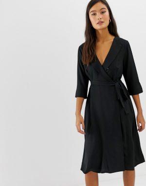 Amy Lynn 3/4 sleeve wrap front dress - Black