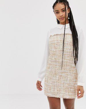 Amy Lynn long sleeve contrast shirt dress - Cream