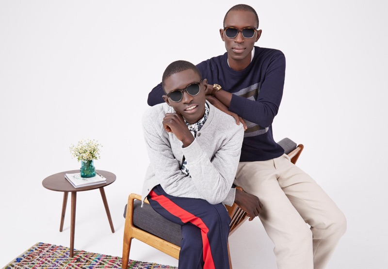 Cool in shades, Fernando and Armando Cabral wear Warby Parker. Left: Fernando dons Carey sunglasses. Right: Armando wears Lewis sunglasses.