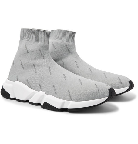 bff3af1de773 Balenciaga – Speed Sock Logo-Print Stretch-Knit Sneakers – Men – Light gray