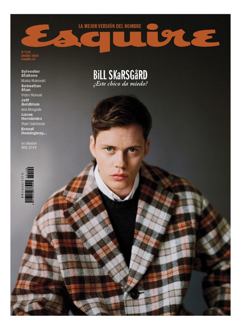 Actor Bill Skarsgård covers the January 2019 issue of Esquire España.