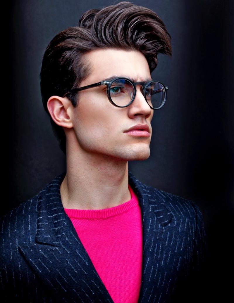 Brad wears glasses Matsuda, sweater and jacket Christopher Bates.