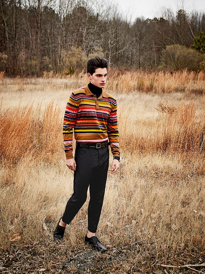 Cameron wears sweater Missoni, turtleneck Eleventy, trousers McQ, watch Bell & Ross, belt H&M, and shoes George.