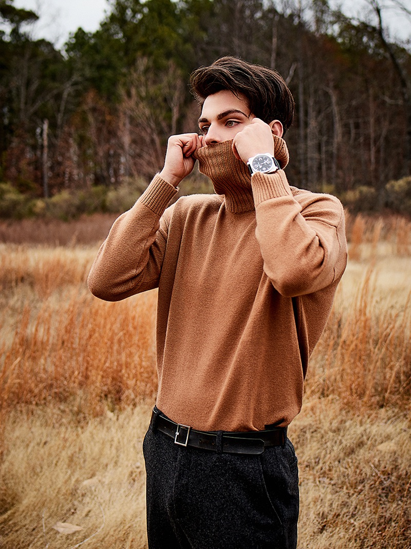 Cameron wears sweater The Kooples, trousers John Varvatos, watch Bell & Ross, and belt H&M.
