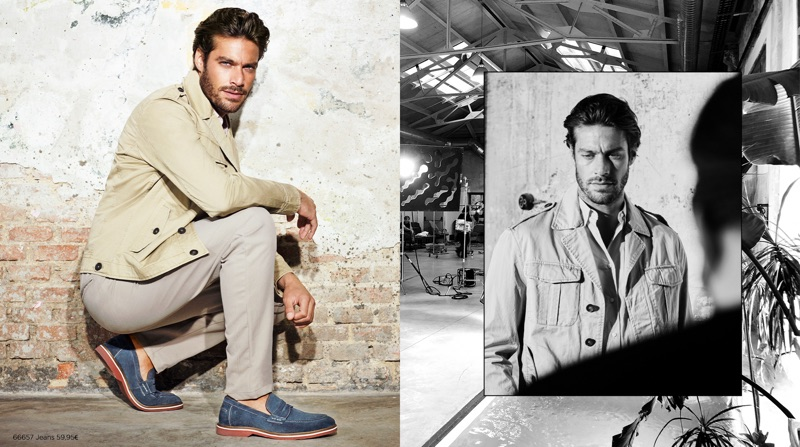 Portuguese model Gonçalo Teixeira appears in Carmela Shoes' spring-summer 2019 campaign.