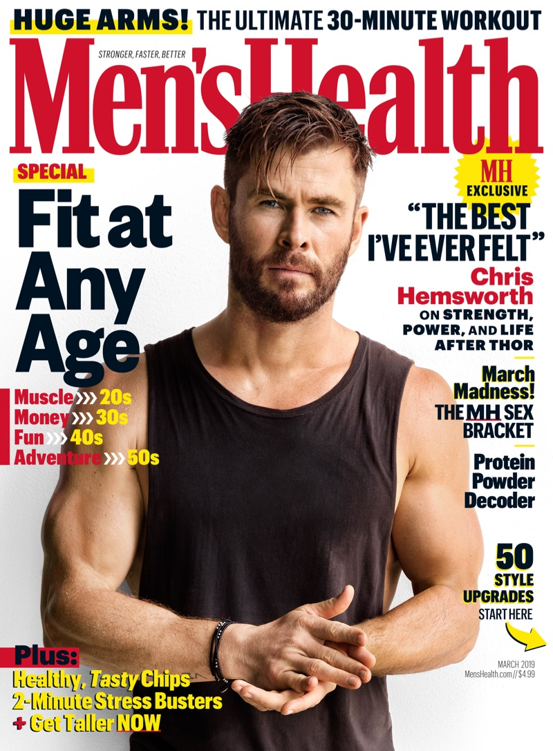 Chris Hemsworth covers the March 2019 issue of Men's Health.