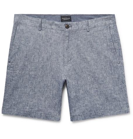 Club Monaco - Baxter Slim-Fit Stretch Linen and Cotton-Blend Shorts - Men - Blue