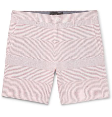 Club Monaco - Baxter Slim-Fit Striped Linen Shorts - Men - Red